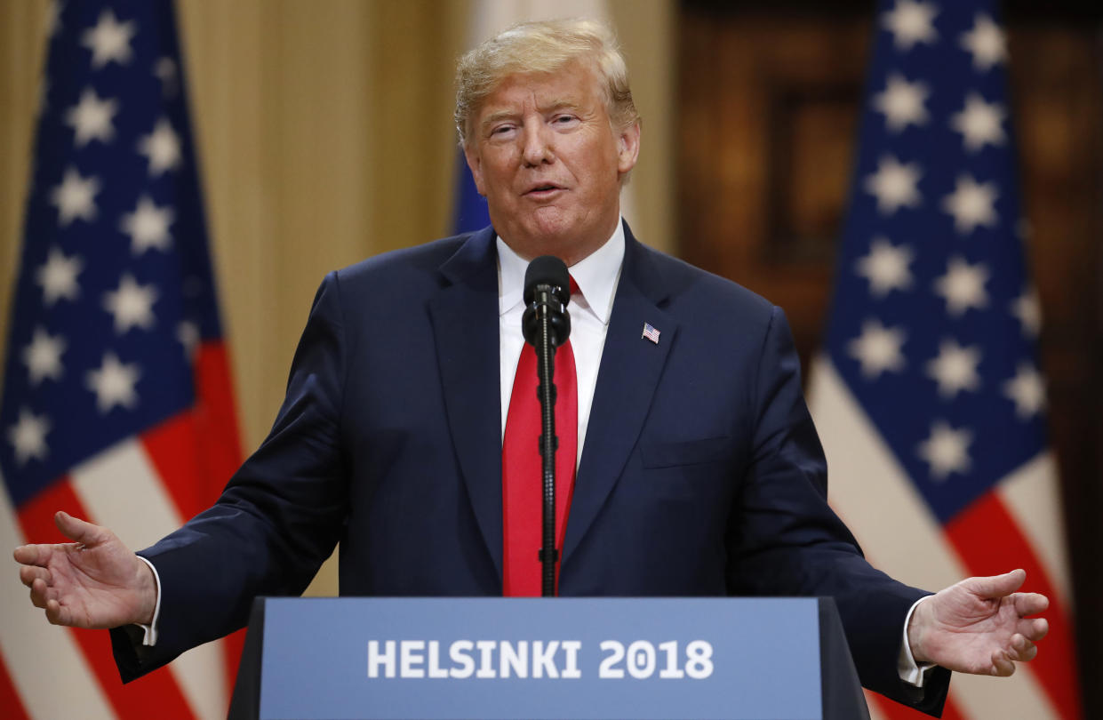 """<span class=""""s1"""">President Trump speaks during the joint press conference on Monday. (Photo: Alexander Zemlianichenko/AP)</span>"""
