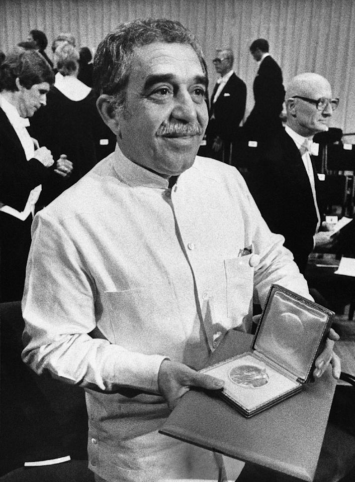 FILE - In this Dec. 8, 1982 file photo, Nobel laureate Gabriel Garcia Marquez shows his Nobel Prize medal after he delivered his Nobel Lecture in Stockholm, Sweden. Marquez died Thursday April 17, 2014 at his home in Mexico City. (AP Photo/Bjorn Elgstrand, Pool, File)