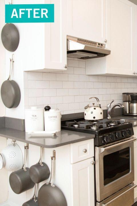 """<p>The biggest challenge for this homeowner was getting rid of all the non-essentials in her kitchen, then she took advantage of wasted surface space — like the side of her cabinets — to store bulky pots and pans.</p><p><em><a href=""""http://www.goodhousekeeping.com/home/organizing/a43607/professional-organizer-kitchen-makeover/"""" rel=""""nofollow noopener"""" target=""""_blank"""" data-ylk=""""slk:See more at Good Housekeeping »"""" class=""""link rapid-noclick-resp"""">See more at Good Housekeeping »</a></em></p><p><span class=""""redactor-invisible-space""""><span class=""""redactor-invisible-space""""><strong>What you'll need:</strong> Command hooks, $7, <a href=""""https://www.amazon.com/Command-Forever-Classic-Brushed-FC13-BN-ES/dp/B000VSCUZY/?tag=syn-yahoo-20&ascsubtag=%5Bartid%7C10063.g.36078080%5Bsrc%7Cyahoo-us"""" rel=""""nofollow noopener"""" target=""""_blank"""" data-ylk=""""slk:amazon.com"""" class=""""link rapid-noclick-resp"""">amazon.com</a></span></span><br></p>"""