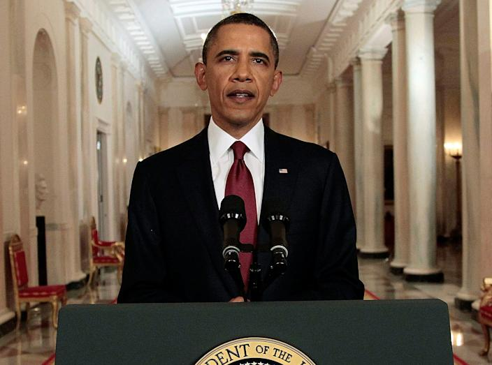 President Obama announces the death of Osama bin Laden.