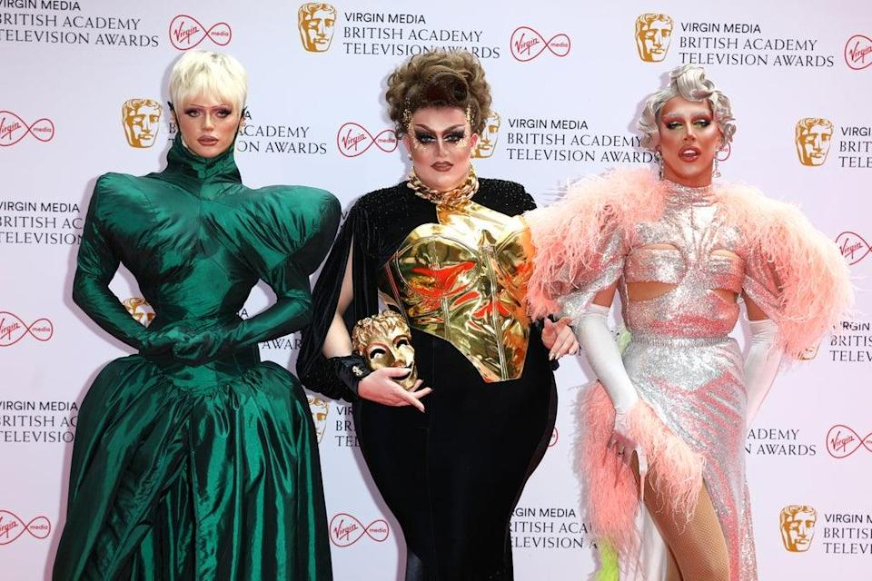 From L-R: Drag Race UK's Bimini, Lawrence Chaney and A'Whora at the 2021 Baftas (Getty)