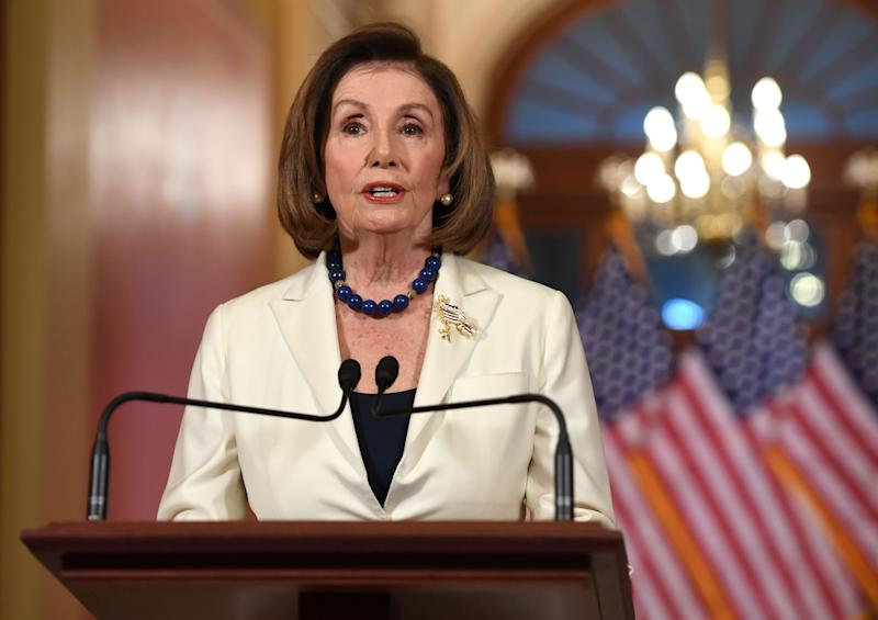 House Speaker Nancy Pelosi delivers a statement about the impeachment inquiry on Capitol Hill Thursday. (Photo by Saul Loeb/AFP via Getty Images)