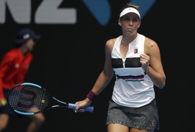 United States' Madison Keys reacts after defeating Australia's Destanee Aiava in their first round match at the Australian Open tennis championships in Melbourne, Australia, Tuesday, Jan. 15, 2019. (AP Photo/Kin Cheung)