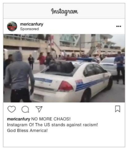 This sponsored Instagram ad features an image of a hooded black man standing next to a vandalized a police car. The IRA paid 1,498 rubles (roughly $24) for the ad, which specifically targeted law enforcement officers and people who work in the military. It earned 7,588 impressions.