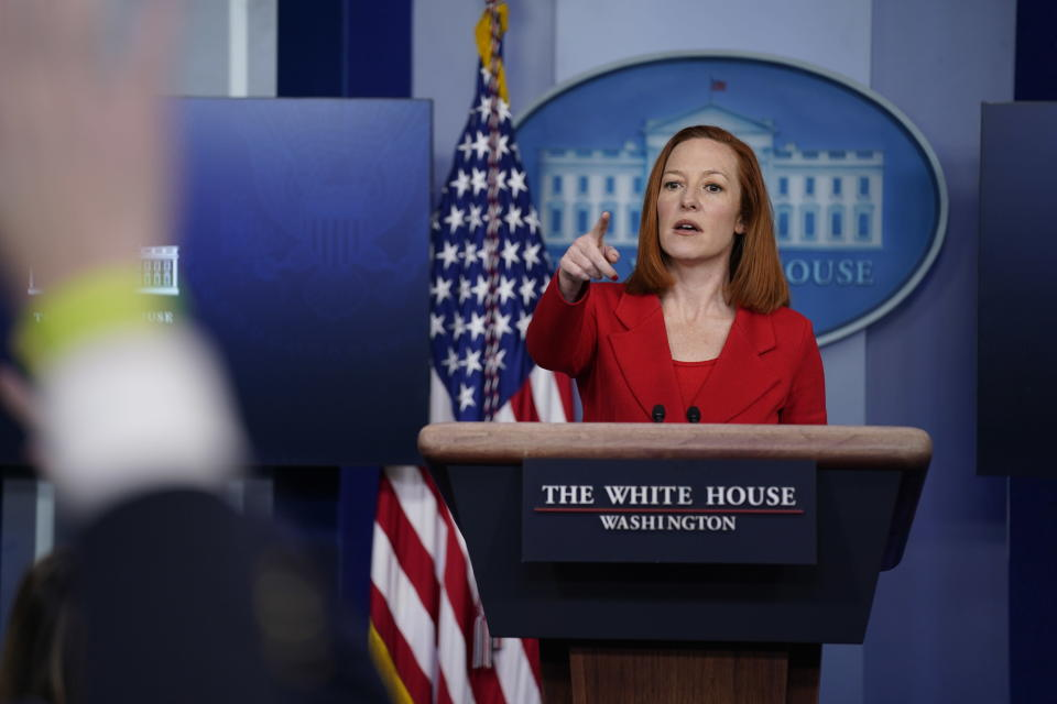 White House press secretary Jen Psaki speaks during a press briefing at the White House, Tuesday, March 2, 2021, in Washington. (AP Photo/Evan Vucci)