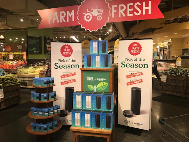 "Amazon Echo is now on display at Whole Foods. And it's ""Farm Fresh""!"