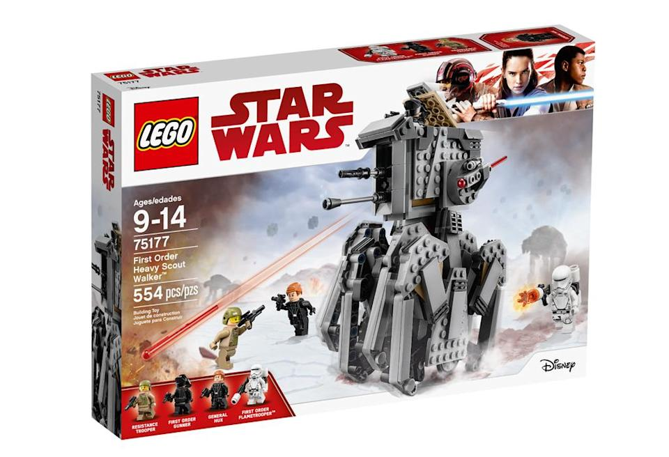 """<p>""""Go in search of Resistance fighters in the amazing First Order Heavy Scout Walker. Place General Hux in the cockpit and send orders to the Flametrooper. Give the walker a push and see the crawling legs start to move! When you spot the enemy, raise the spring-loaded shooters and get ready to fire!"""" $49.99 (Photo: Lego) </p>"""