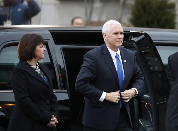 <p>Vice President-elect Mike Pence and his wife Karen, arrives for a church service at St. John's Episcopal Church across from the White House in Washington, Friday, Jan. 20, 2017, on Donald Trump's inauguration day. (Photo: Alex Brandon/AP) </p>