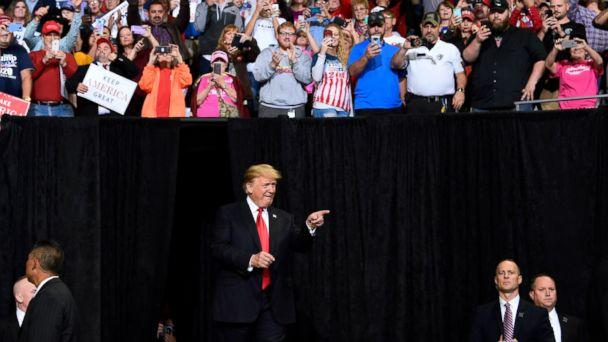 PHOTO: President Donald Trump arrives to speak at a rally in Council Bluffs, Iowa, Tuesday, Oct. 9, 2018. (AP)