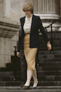 <p>For her very first wedding rehearsal at St Paul's, Di went for a distinctly professional vibe, consisting of a mustard pencil skirt, ivory blouse and minimalist blazer.</p>