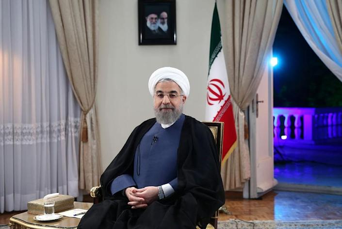 A photo provided by the office of Iranian President Hassan Rouhani shows him during an interview broadcast live on state television in Tehran on August 2, 2015 (AFP Photo/)