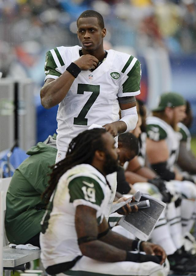 New York Jets quarterback Geno Smith (7) walks on the sideline in the fourth quarter of an NFL football game against the Tennessee Titans on Sunday, Sept. 29, 2013, in Nashville, Tenn. The Titans won 38-13. (AP Photo/Mark Zaleski)