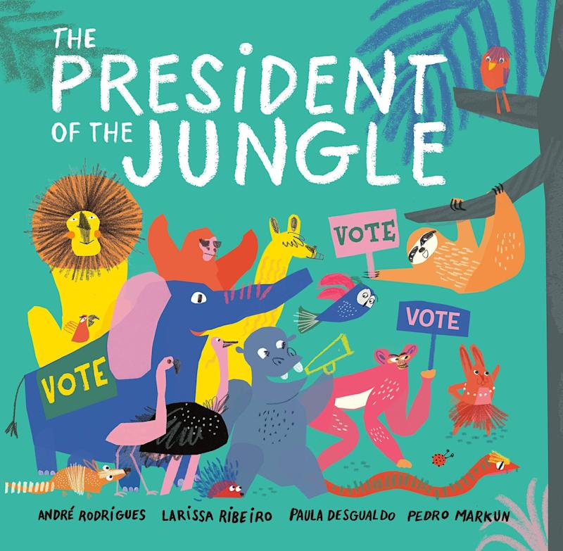 """Animals decide who they want to be their leader in this brightly illustrated book about voting. <i>(Available <a href=""""https://www.amazon.com/President-Jungle-Andr%C3%A9-Rodrigues/dp/1984814745"""" target=""""_blank"""" rel=""""noopener noreferrer"""">here</a>)</i>"""