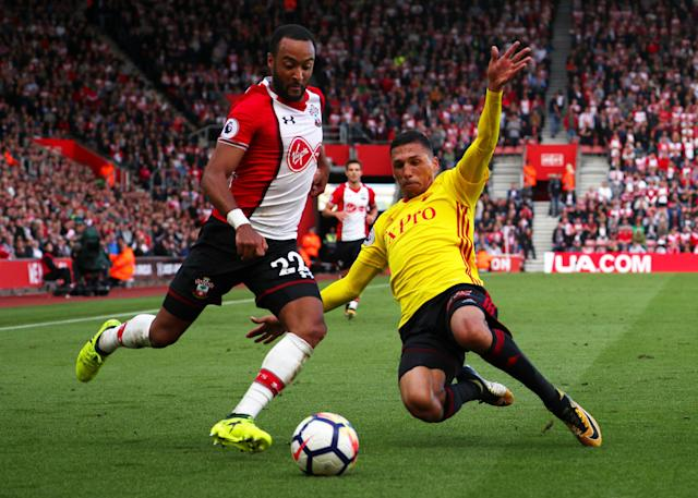 Southampton's Nathan Redmond in action with Watford's Jose Holebas. REUTERS/Hannah McKay.