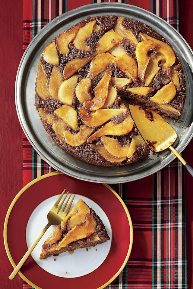 """<p>This is the perfect cake for a week night treat or a casual holiday party. A layer of tender, caramelized pears tops this richly spiced skillet <a href=""""https://www.southernliving.com/food/entertaining/upside-down-cakes"""">upside down cake</a>. When it is time to put the <a href=""""https://www.southernliving.com/desserts/cakes/cooking-with-cast-iron-skillet-cakes"""">batter into the pan</a>, use an offset spatula to gently spread the batter without disturbing the layer of pears underneath.</p> <p><a href=""""https://www.myrecipes.com/recipe/upside-down-pear-gingerbread-cake"""">Upside Down Pear-and-Gingerbread Cake Recipe</a></p>"""