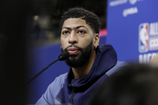 Anthony Davis, of the Los Angeles Lakers, speaks at the NBA All-Star basketball game media day, Saturday, Feb. 15, 2020, in Chicago. (AP Photo/Nam Y. Huh)