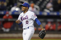 New York Mets starting pitcher Marcus Stroman celebrates after Philadelphia Phillies' Rhys Hoskins grounded into a double play during the sixth inning of the second baseball game of a doubleheader Tuesday, April 13, 2021, in New York.(AP Photo/Frank Franklin II)