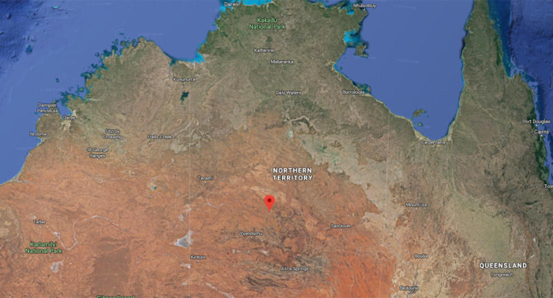 The outback town is located about 300km northwest of Alice Springs. Source Google MapsMore