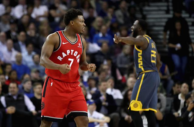 If the Raptors beating a full-staffed Warriors team by 20 on the road without Kawhi isn't a statement win, than what is? (Getty)