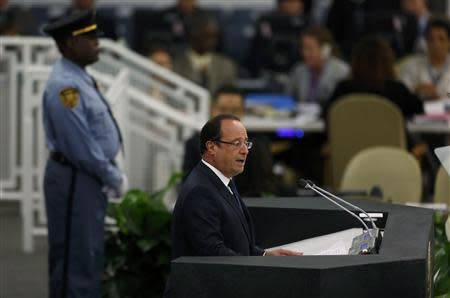 French President Hollande addresses the 68th United Nations General Assembly in New York