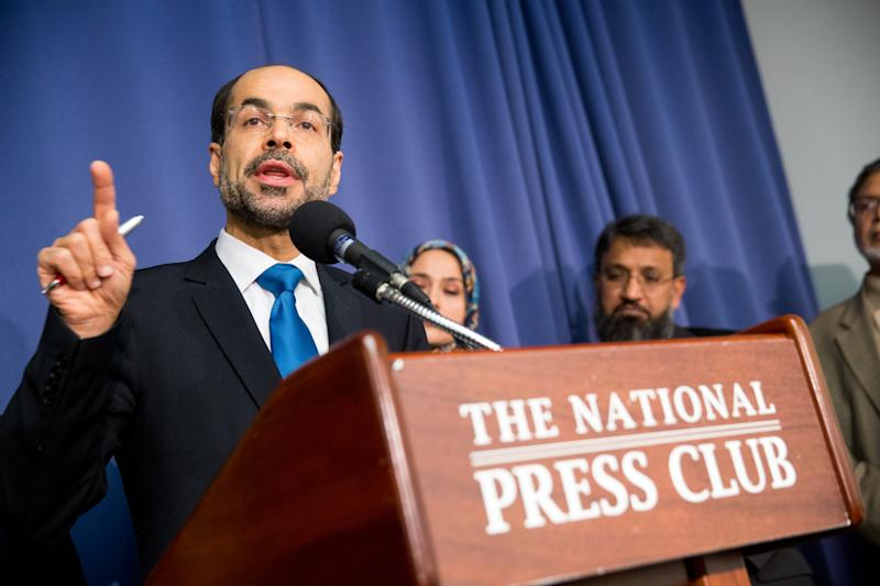 Executive Director and Founder of the Council on American-Islamic Relations Nihad Awad speaks at a press conference held by the U.S. Council of Muslim Organizations at the National Press Club in Washington, Monday, Dec. 21, 2015. (AP Photo/Andrew Harnik)