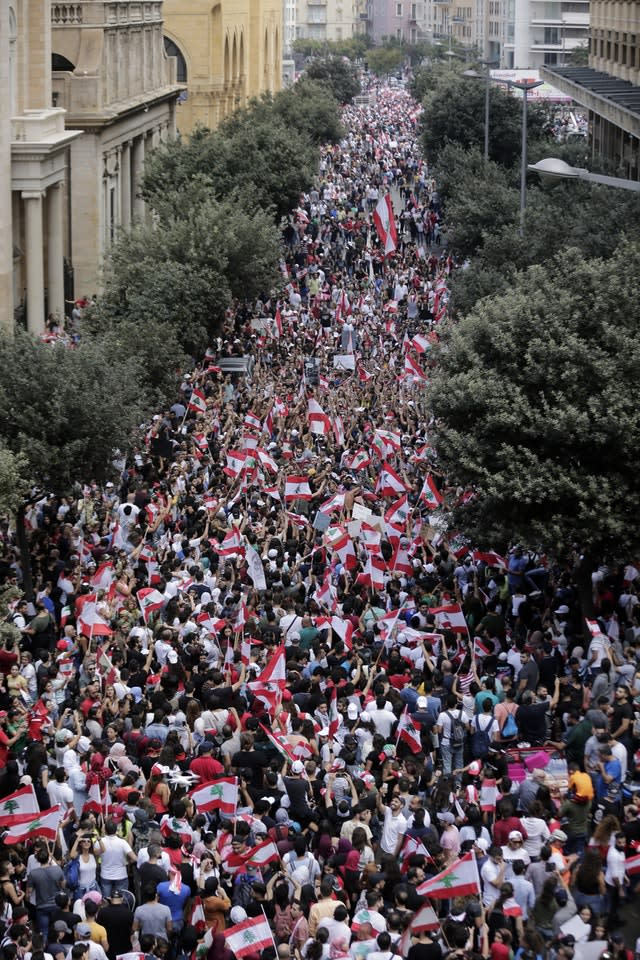 Protesters march through Beirut