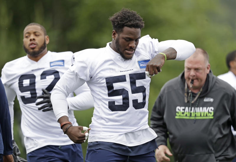 The Seahawks are looking for Frank Clark (55) to continue his rise as a defensive anchor in Seattle. (AP)