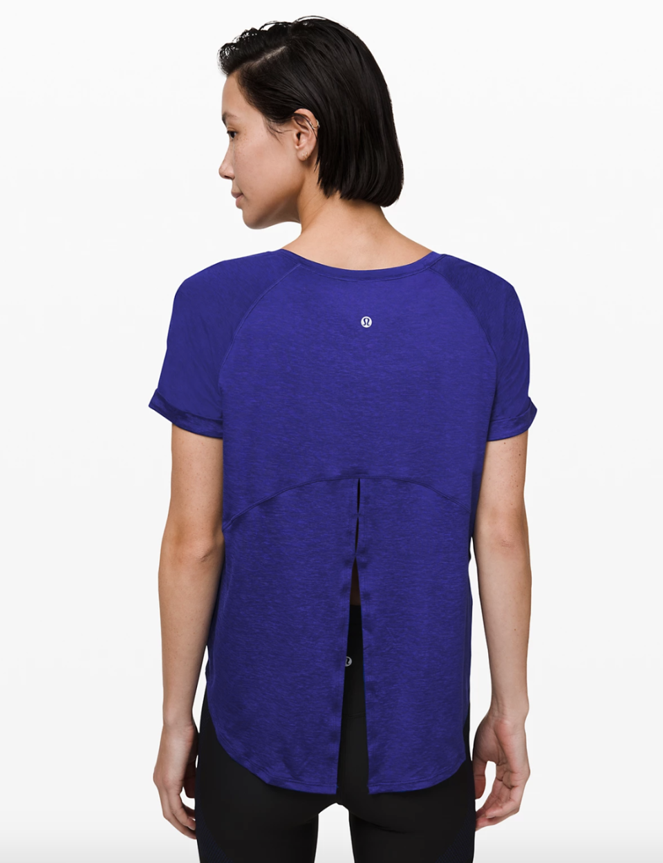 Open Up Tie Back Tee in larkspur