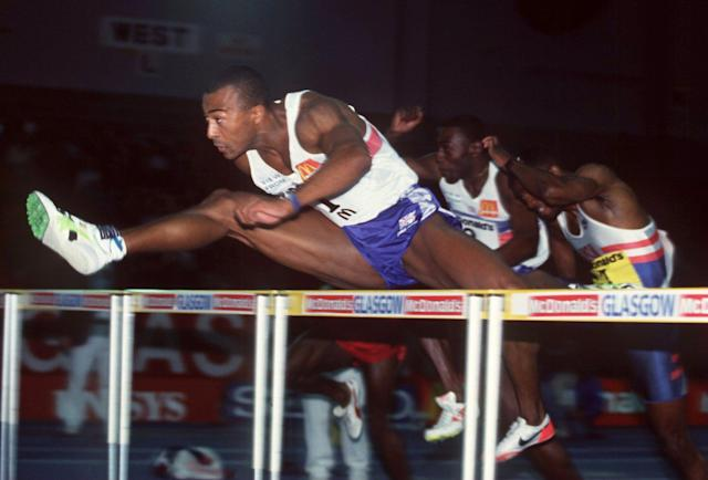 <p>Colin Jackson won the 60m hurdles in a world record time of 7.35 seconds in Glasgow in 1994 – a feat that would no longer be recognised by the history books. </p>