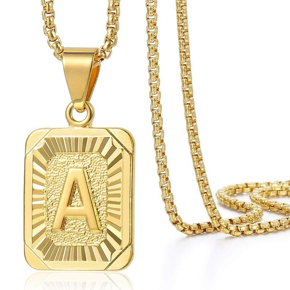 "<br><br><strong>Trendsmax</strong> Initial Letter Pendant Necklace, $, available at <a href=""https://amzn.to/2H4Cfq1"" rel=""nofollow noopener"" target=""_blank"" data-ylk=""slk:Amazon Fashion"" class=""link rapid-noclick-resp"">Amazon Fashion</a>"