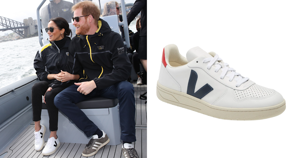 Meghan Markle wears Veja's sustainable V-10 sneakers in white while in australia with prince harry (Photos via Getty/Nordstrom)