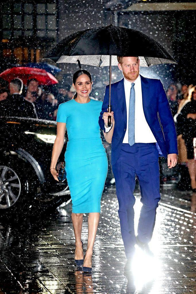 <p>The color of the turquoise crêpe midi dress Meghan Markle wore to the Endeavor Fund Awards in 2020 is similar to Jasmine's — and both outfits have since become iconic.</p>
