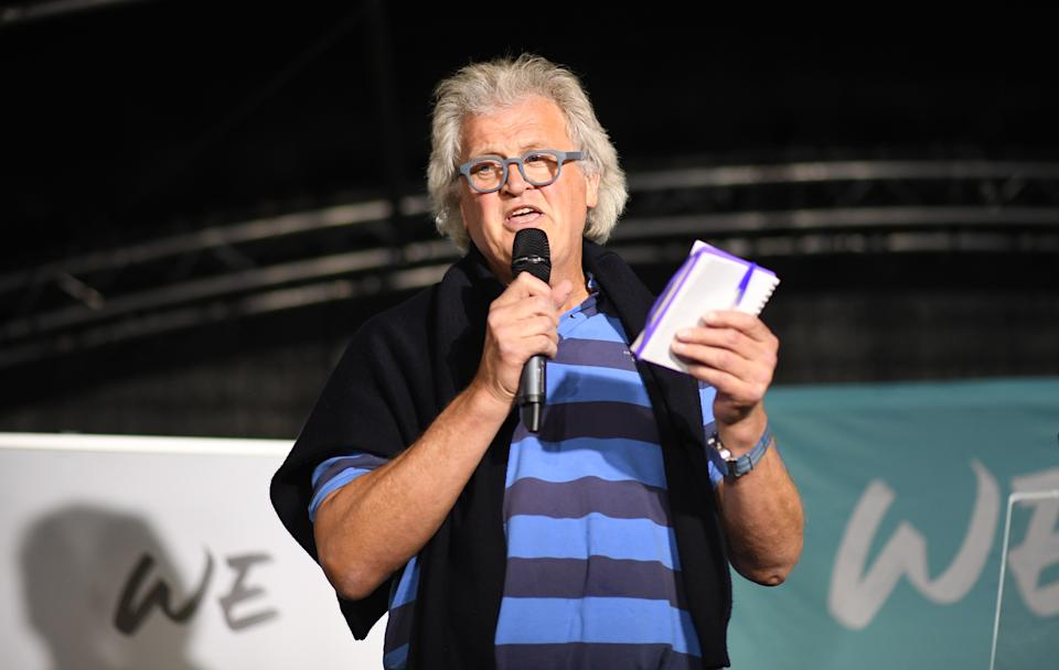 Founder and Chairman of Wetherspoon Tim Martin speaks during the Brexit Party's 'We Are Ready' event at Colchester United Football Club in Essex. (Photo by Stefan Rousseau/PA Images via Getty Images)