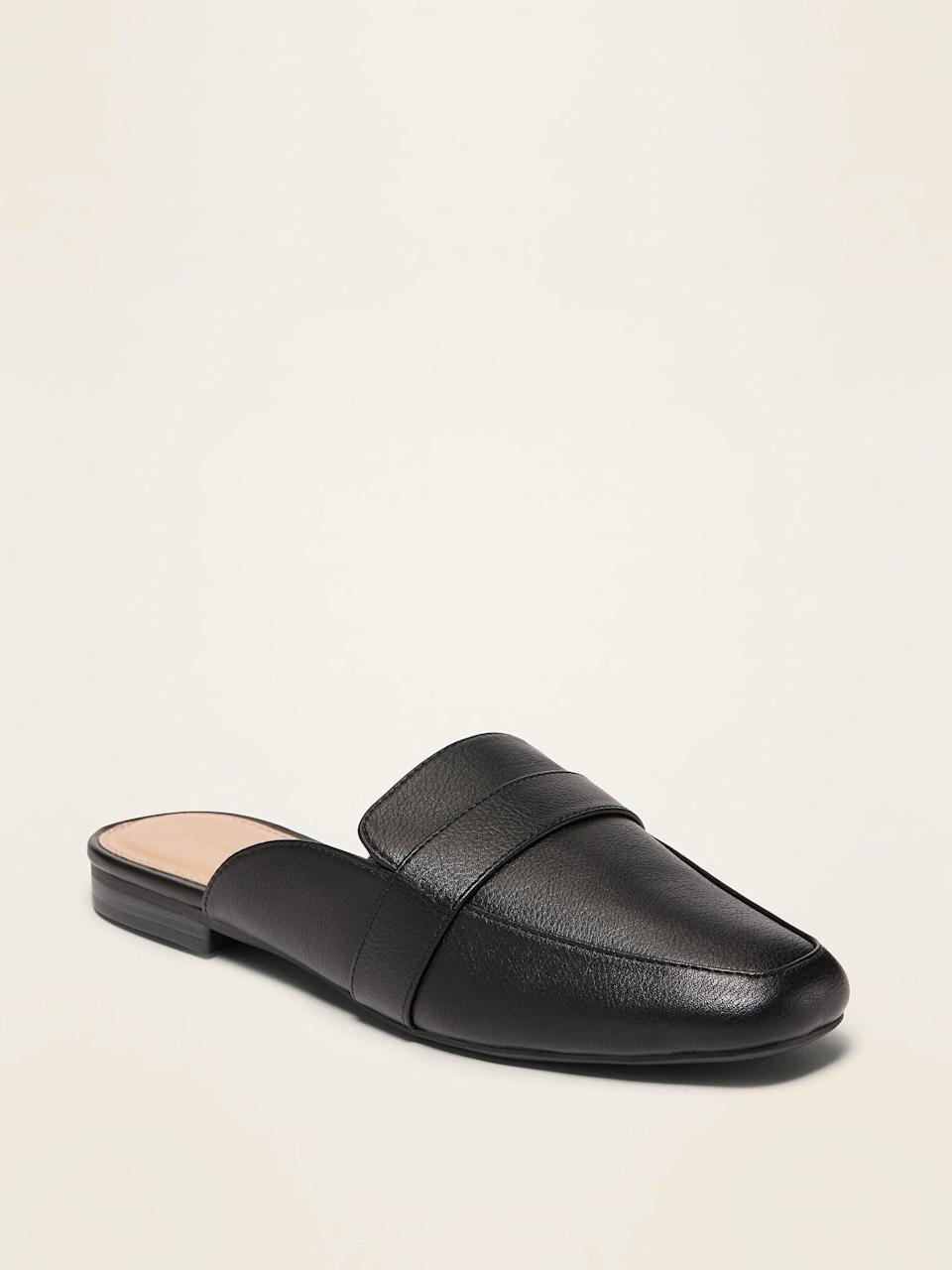 <p>These <span>Faux-Leather Driving Mules</span> ($26, originally $30) look sleek and comfortable.</p>