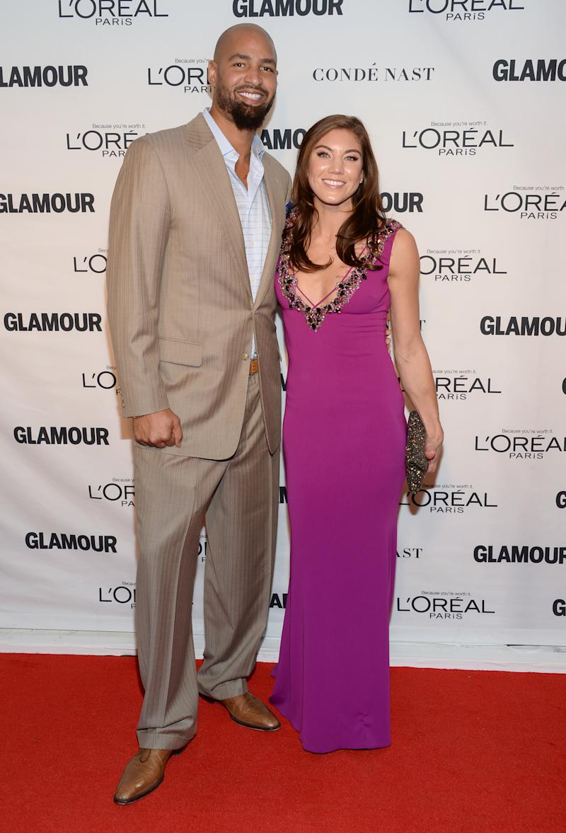 Jerramy Stevens, left, and Hope Solo attend the 25th annual Glamour Women of the Year Awards at Carnegie Hall on Monday, Nov. 9, 2015, in New York. (Photo by Evan Agostini/Invision/AP)