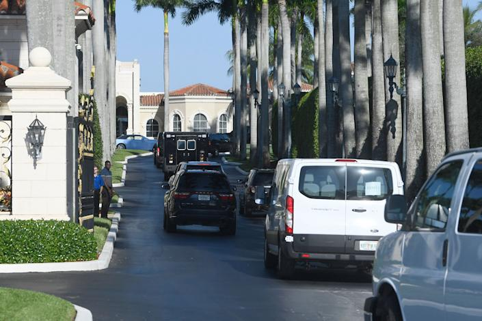 The motorcade with President Donald Trump arrives at his Trump International Golf Club in West Palm Beach, Florida, on Dec. 1, 2019. (Photo: ASSOCIATED PRESS)