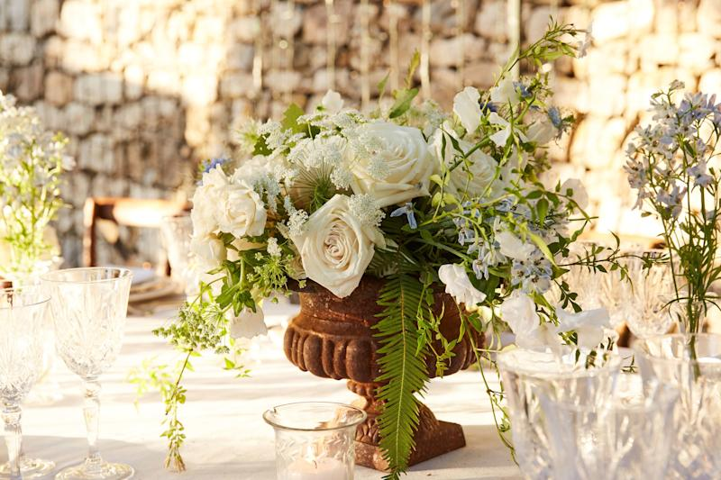 """""""The setting is already so beautiful; we thought it didn't need too much, so we did low flowers on the table,"""" Caroline explains."""