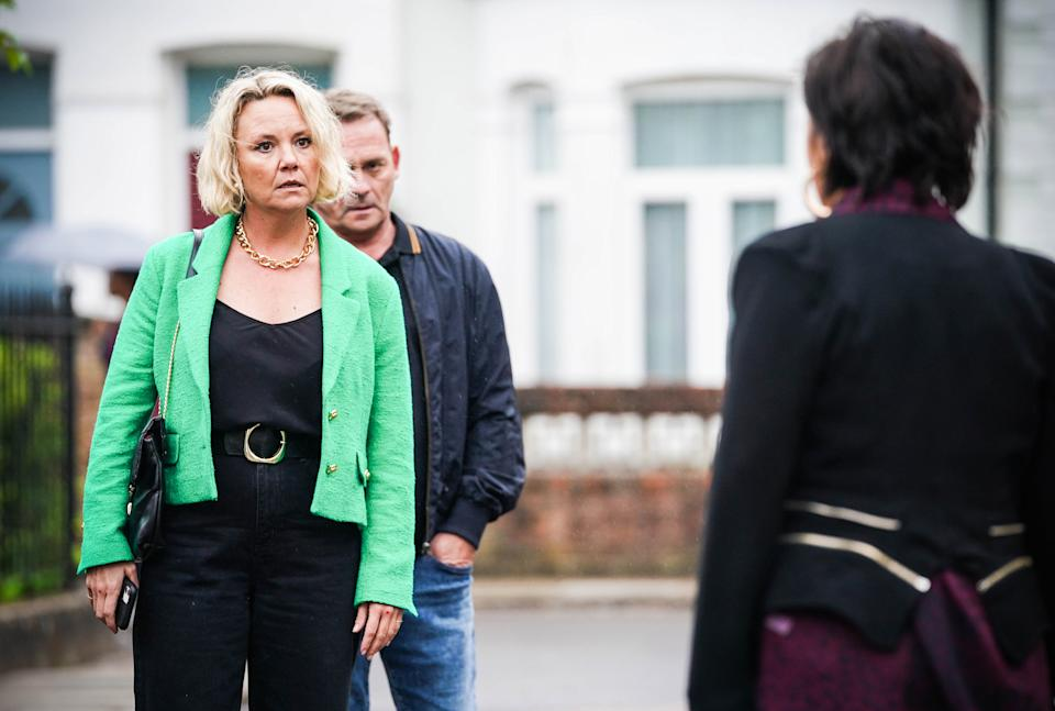 WARNING: Embargoed for publication until 00:00:01 on 31/08/2021 - Programme Name: EastEnders - July-September 2021 - TX: 10/09/2021 - Episode: EastEnders - July-September 2021 - 6340 (No. 6340) - Picture Shows: ***EMBARGOED TILL TUESDAY 31ST AUGUST 2021*** Janine Butcher (CHARLIE BROOKS), Billy Mitchell (PERRY FENWICK), Kat Moon (JESSIE WALLACE) - (C) BBC - Photographer: Kieron McCarron/Jack Barnes