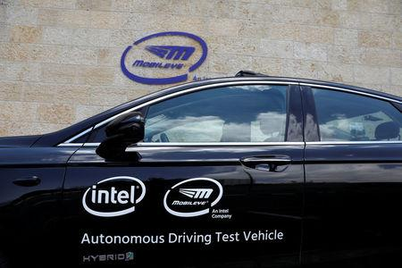 A general view of a Mobileye autonomous driving test vehicle, at the Mobileye headquarters in Jerusalem, May 15, 2018. REUTERS/Ronen Zvulun