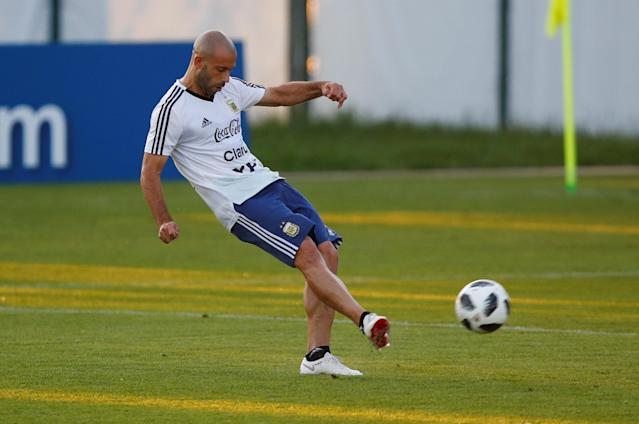 Soccer Football - World Cup - Argentina Training - Argentina Training Camp, Moscow, Russia - June 18, 2018 Argentina's Javier Mascherano during training REUTERS/Axel Schmidt