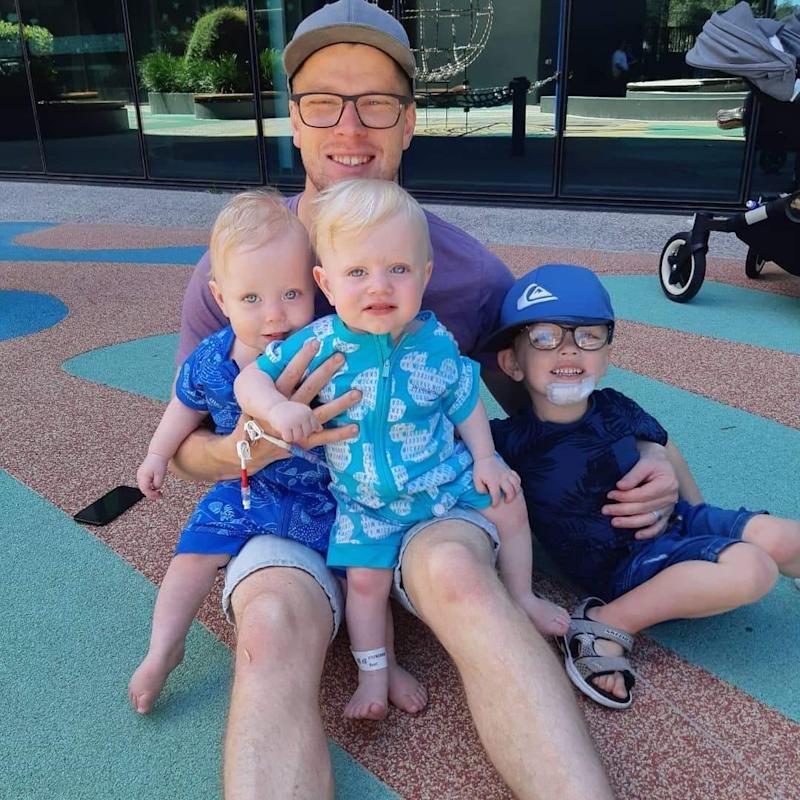 2019 YMCA Father of the Year Christopher Youngman with sons Ethan (4), Lucas and Noah (2).