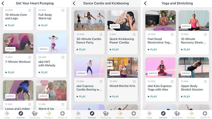 Fitbit Premium offers a wide range of workout videos, but they aren't organized very well.