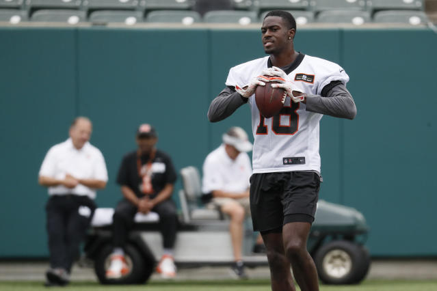 Cincinnati Bengals wide receiver A.J. Green reacts during practice at the NFL football team's training camp, Tuesday, June 12, 2018, in Cincinnati. (AP Photo/John Minchillo)