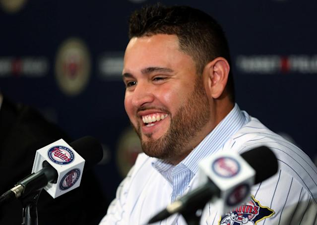 Ricky Nolasco smiled speaks to the media during a press conference at Target Field in Minneapolis, Tuesday, Dec. 3, 2013. The Minnesota Twins announced Tuesday they finalized a $49 million, four-year contract with right-hander Nolasco. (AP Photo/The Star Tribune, Kyndell Harkness)