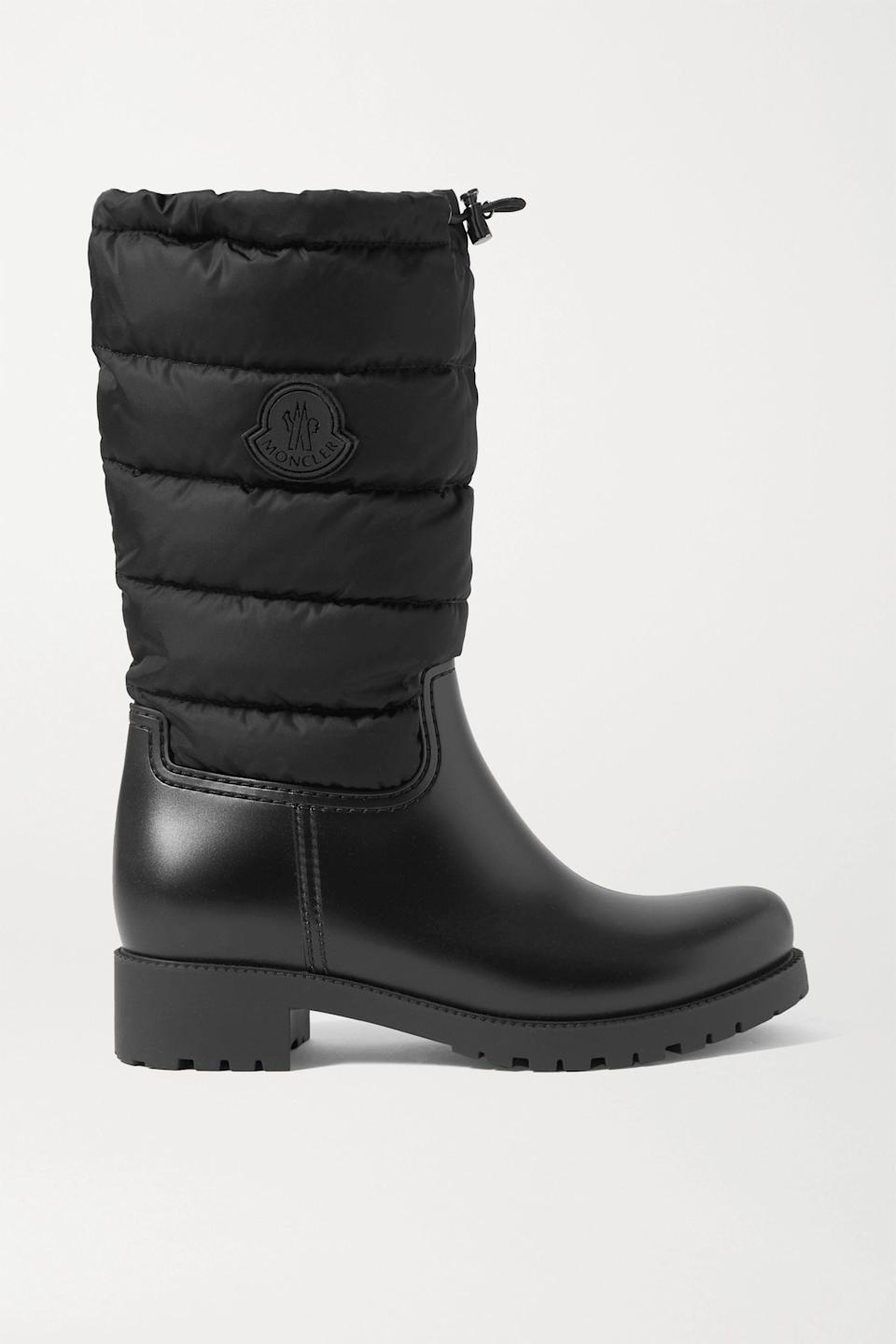 """<p><strong>Moncler</strong></p><p>net-a-porter.com</p><p><strong>$495.00</strong></p><p><a href=""""https://go.redirectingat.com?id=74968X1596630&url=https%3A%2F%2Fwww.net-a-porter.com%2Fen-us%2Fshop%2Fproduct%2Fmoncler%2Fginette-quilted-nylon-and-rubber-rain-boots%2F1257857&sref=https%3A%2F%2Fwww.marieclaire.com%2Ffashion%2Fg3388%2Fsnow-boots-for-women%2F"""" rel=""""nofollow noopener"""" target=""""_blank"""" data-ylk=""""slk:SHOP IT"""" class=""""link rapid-noclick-resp"""">SHOP IT</a></p><p>The scenario: you find a pair of winter boots you love and everything fits perfectly, except you can still feel the wind coming in through the tops of your boots. The solution: Slip into a pair of Moncler's Ginette boots. They have toggles on top of the boot to cinch in the quilted nylon for heat retention while the lug soles provide traction as you make your way through the snow.<br></p>"""
