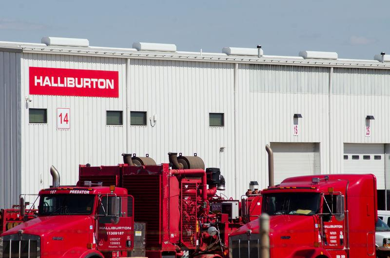 FILE PHOTO: Oil production equipment is seen in a Halliburton yard in Williston