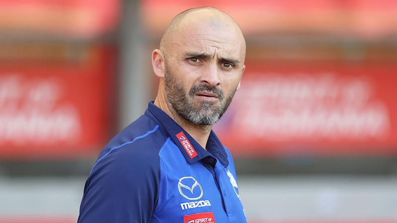 Pictured here, under-fire Kangaroos coach Rhyce Shaw.