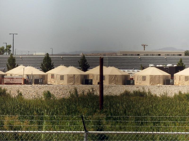 View of a temporary detention centre for illegal underage immigrants in Tornillo, Texas, US near the Mexico-US border, on 18 June 2018: HERIKA MARTINEZ/AFP/Getty Images
