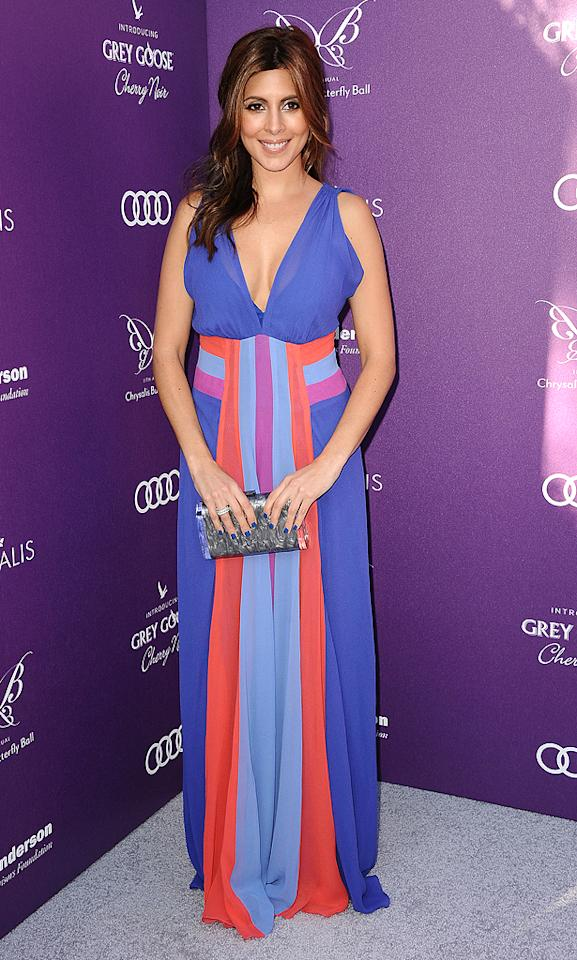 Jamie-Lynn Sigler was all smiles as she arrived at this year's Chrysalis Butterfly Ball in Brentwood, California. Best known for playing Meadow Soprano, the small screen actress decided to don a sweet Nicole Miller maxi dress and cobalt blue nail polish to the star-studded soiree. (6/9/2012)<br><br>