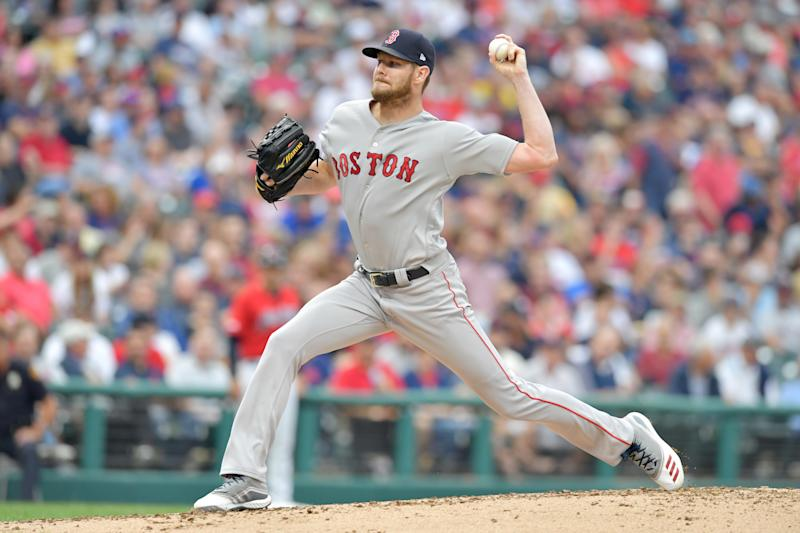 CLEVELAND, OHIO - AUGUST 13: Starting pitcher Chris Sale #41 of the Boston Red Sox pitches during the first inning against the Cleveland Indians at Progressive Field on August 13, 2019 in Cleveland, Ohio. (Photo by Jason Miller/Getty Images)